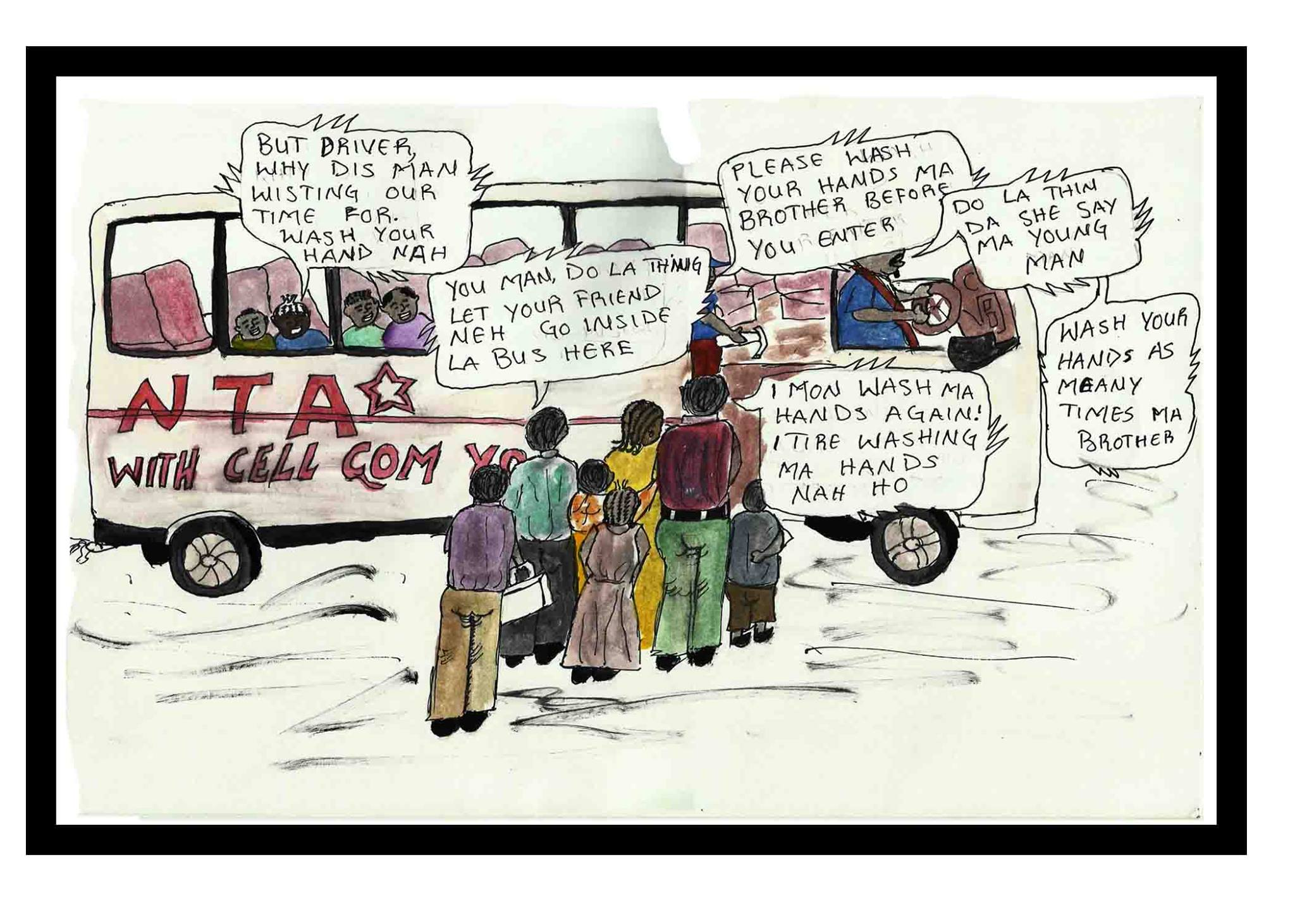 Youth artist j d depicts a public conversation about ebola